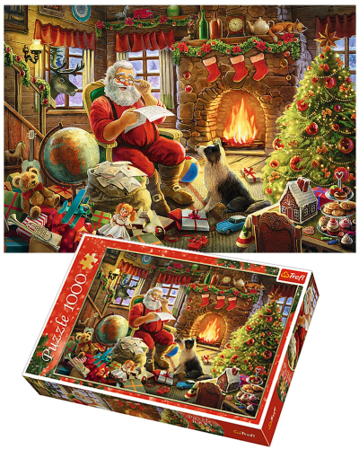 New 1000 Pieces Christmas Santa Resting by the Fire Adult Jigsaw Puzzle